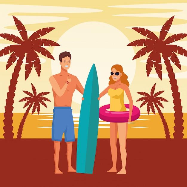 Young couple enjoying summer cartoons Free Vector