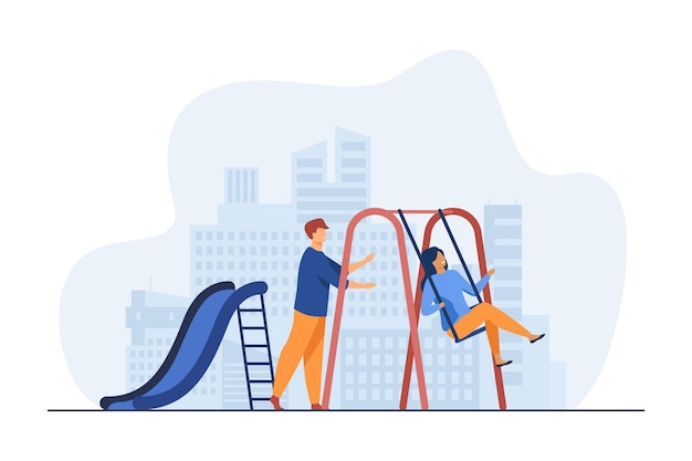 Young couple having fun on playground. guy swinging girlfriend on swing flat illustration Free Vector