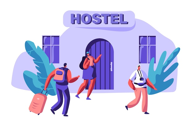 사랑 임대 경제 아파트에서 젊은 부부. 남자와 여자 캐릭터가 가방과 함께 호스텔 건물에 도착합니다. 국제 여행 개념. 휴일 플랫 만화 벡터 일러스트 레이 션을위한 사람들 예약 호텔 프리미엄 벡터
