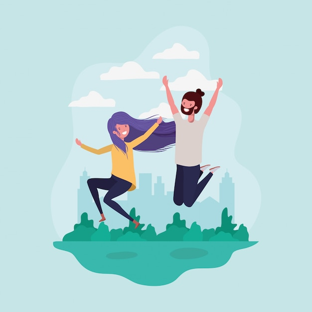 Young couple jumping celebrating in the park characters Free Vector