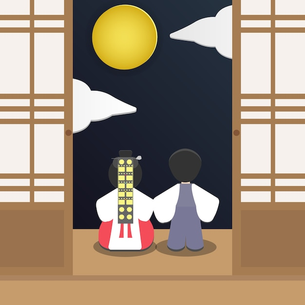 Young couple in korean traditional dress Premium Vector
