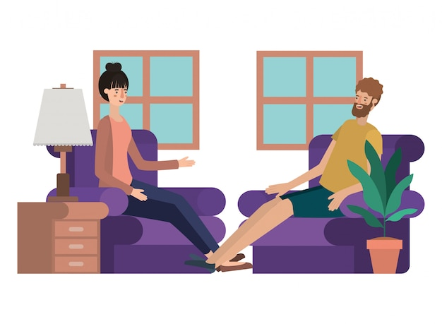 Young couple in the livingroom avatar character Premium Vector