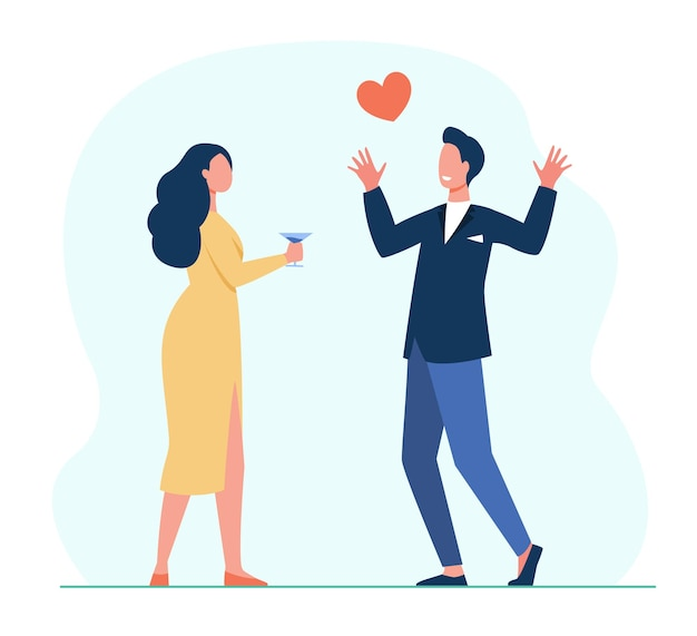 Young couple in love dating. meeting, red heart, drinking alcohol. cartoon illustration Free Vector
