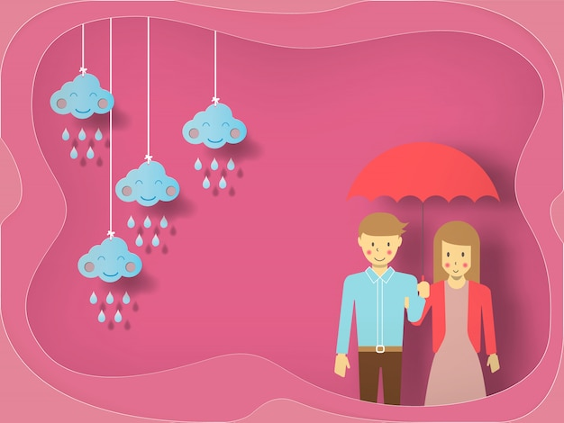 Young couple in love under umbrella on hearts decorated background, vector for happy valentine's day celebration. Premium Vector