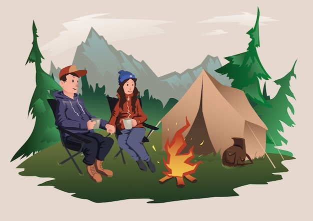 Young couple, man and woman sitting around the campfire in the forest. hiking, active outdoor recreation.   illustration. Premium Vector