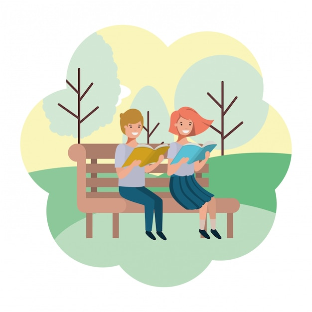 Young couple in park chair avatar character Premium Vector