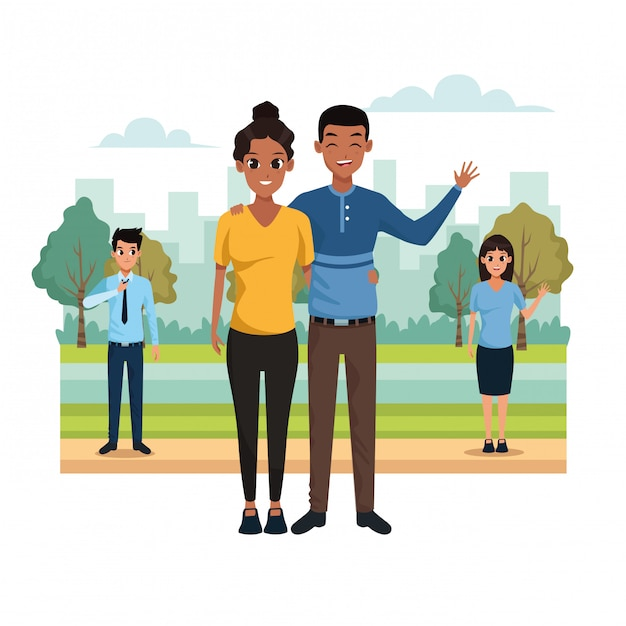 Young couple in the park scenery Free Vector