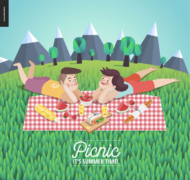 Young couple on picnic template Premium Vector