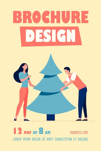 Young couple putting christmas tree flyer template Free Vector