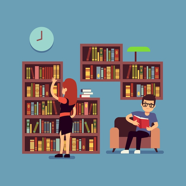 Young couple reading books - flat library or living room concept Premium Vector