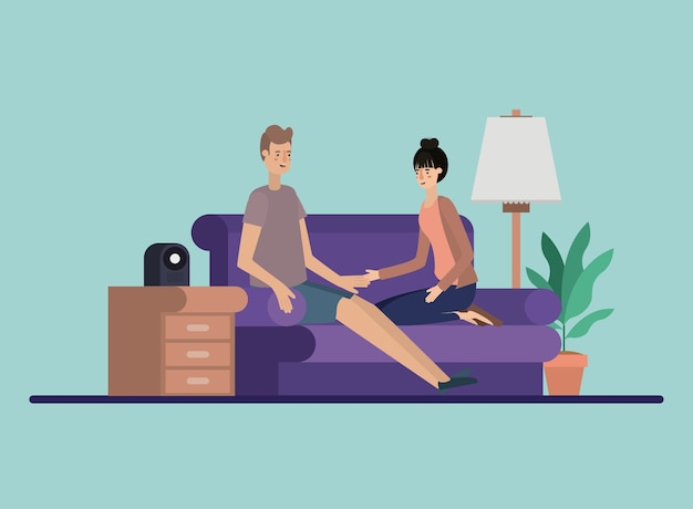 Young couple relaxing on the livingroom Premium Vector