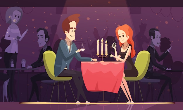 Young couple in a restaurant illustration Free Vector