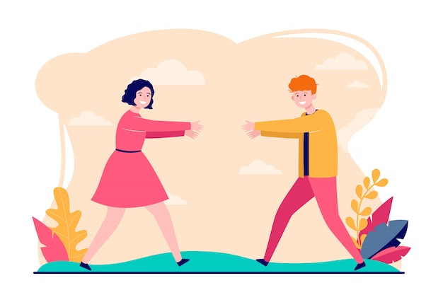 Young couple running to each other Free Vector