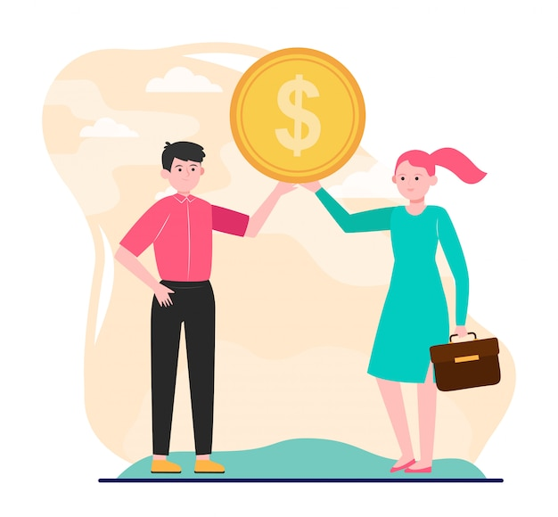 Young couple showing dollar coin Free Vector