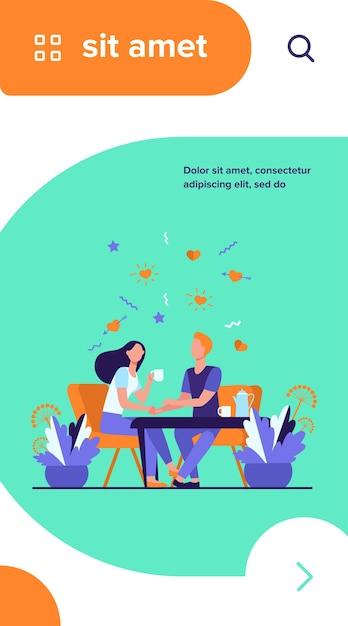 Le giovani coppie che si siedono nel ristorante insieme hanno isolato l'illustrazione piana di vettore. cartoon ragazza romantica e ragazzo che beve caffè alla data Vettore gratuito