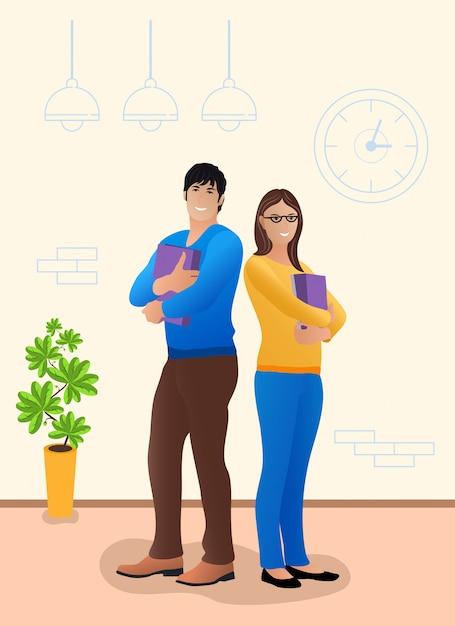 Young couple standing in an office space Premium Vector