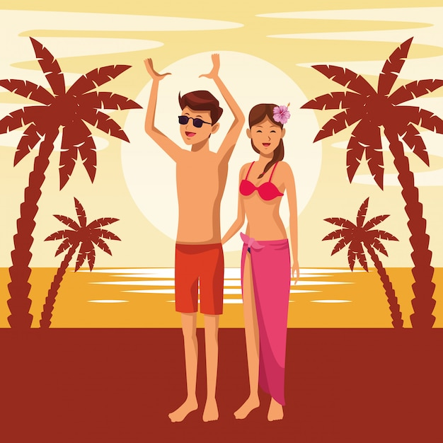 Young couple in summer Free Vector