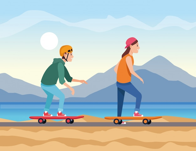 Young couple travel in skateboards Premium Vector