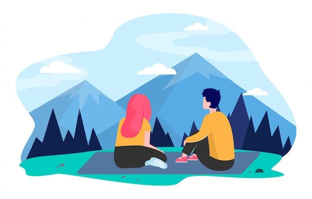 Молодая пара, путешествующая в горах Бесплатные векторы