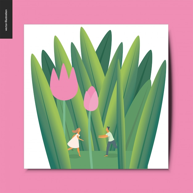 Young couple in tulips Premium Vector