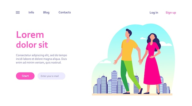 Young couple walking in city. man and woman holding hands. citizens, outdoor activity, dating in city concept for website design or landing web page Free Vector