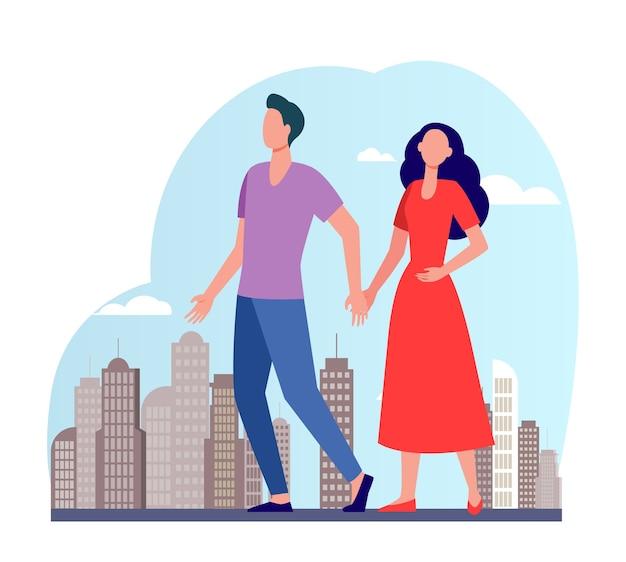 Молодая пара, прогулки по городу. мужчина и женщина, взявшись за руки плоские векторные иллюстрации. горожане, активный отдых, знакомства в городе Бесплатные векторы