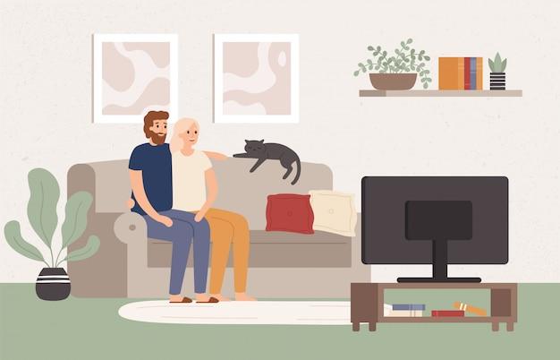 Молодая пара вместе смотреть телевизор. счастливый мужчина и женщина сидят на диване и смотрят телешоу. кино ночь векторные иллюстрации Premium векторы