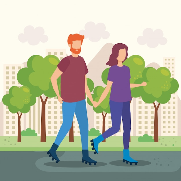 Young couple with skates in the park Free Vector