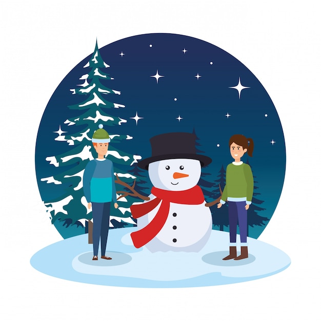 Young couple with snowman in snowscape Premium Vector