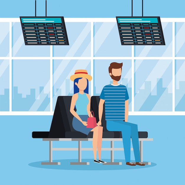 Young couple with suitcase in the airport Premium Vector