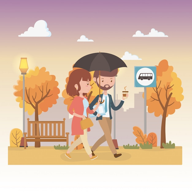 Young couple with umbrella walking in the park characters Free Vector
