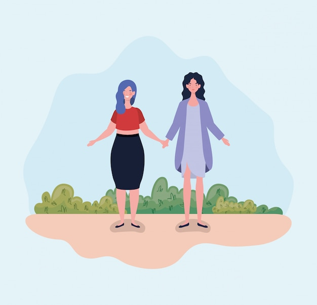 29372fd92e Young couple women standing in the camp Vector   Free Download