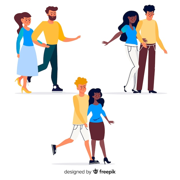Young couples walking together Free Vector