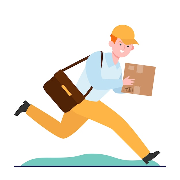 Young courier running with cardboard box Free Vector