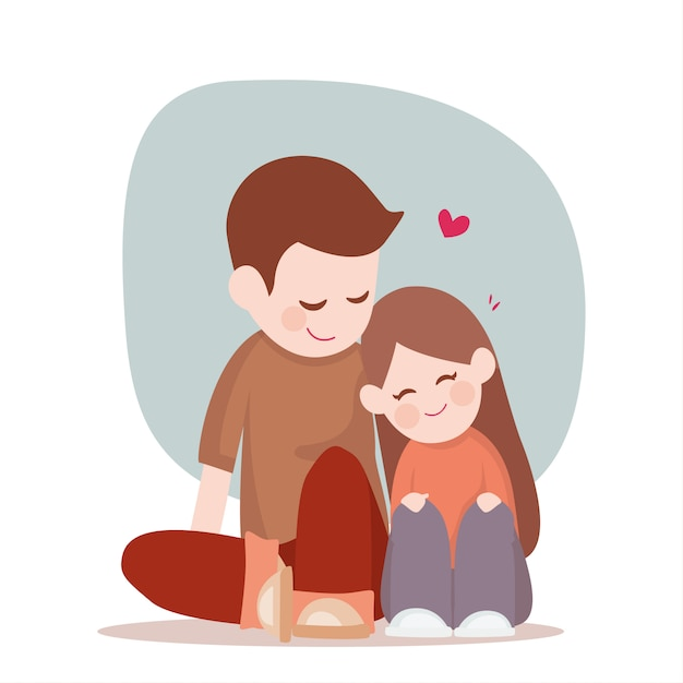 Young Cute Couple Sitting Relaxing On The Floor Happy Relationship Premium Vector