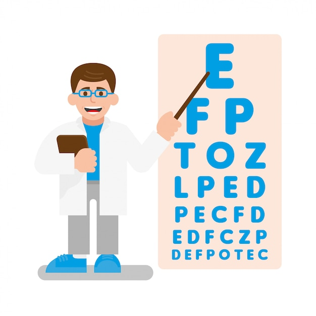 Young cute doctor oculist conduct a test on vision. he show a pointer on poster with many letters which are becoming smaller every time. modern   illustration flat design cartoon character. Premium Vector