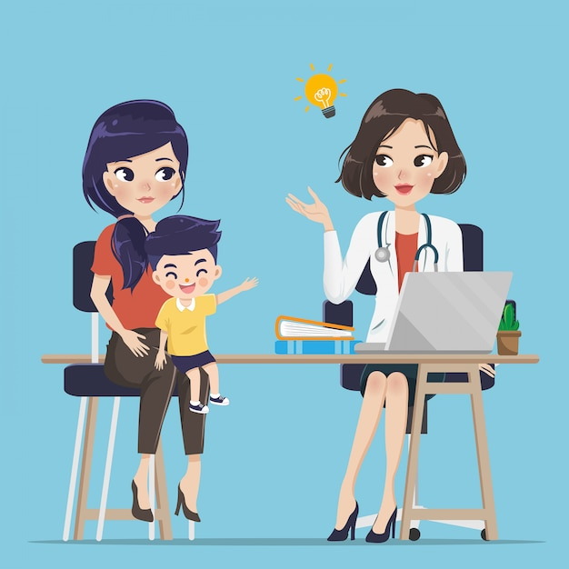 The young doctor is giving advice about children. to mother and child care. Premium Vector