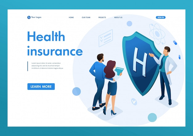 Young doctor offers health insurance to the couple. concept of health insurance. 3d isometric. landing page concepts and web design Premium Vector