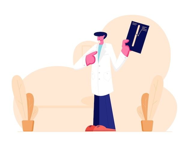 Young doctor traumatologist in white robe uniform pointing on x-ray picture with limb fracture. Premium Vector