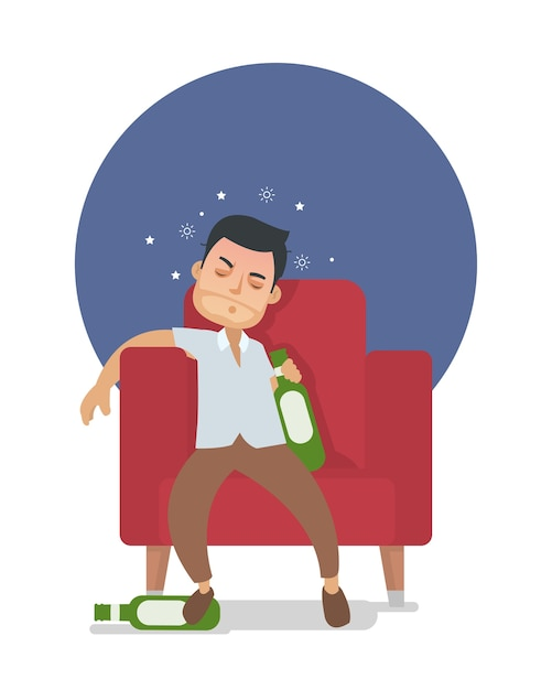 Young drunk guy too many drink alcohol Premium Vector