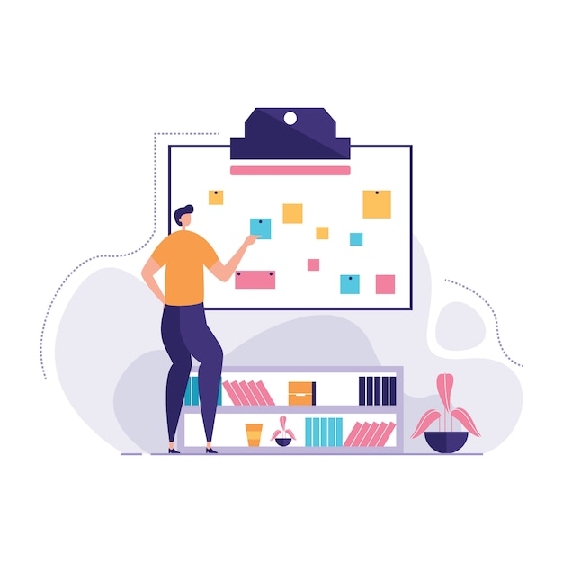 Young employees looking wall marketing notes Premium Vector