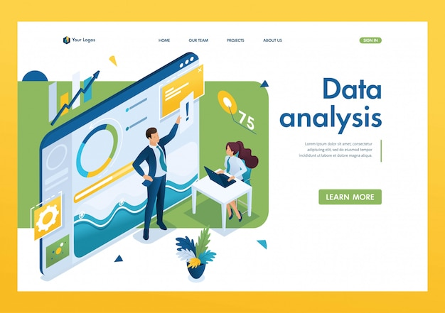 Young entrepreneurs are working on data analysis. Premium Vector