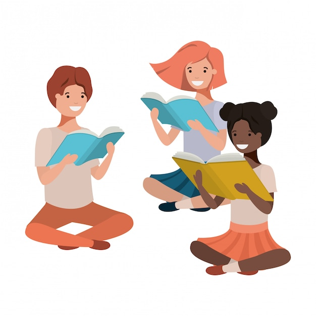 Young ethnicity students sitting reading book Premium Vector