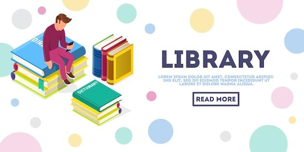 Молодой безликий человек сидит в окружении стопки книг и смотрит в смартфон. интернет-образование, медиа-библиотека, изометрическая векторная концепция электронного обучения для интернета, целевая страница. место для текста, скопируйте пробел. Premium векторы