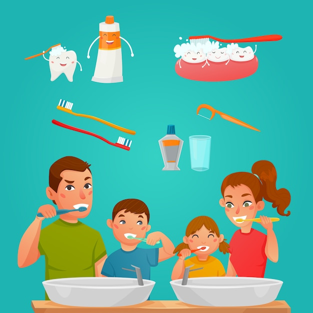 Young family brushing teeth together Free Vector