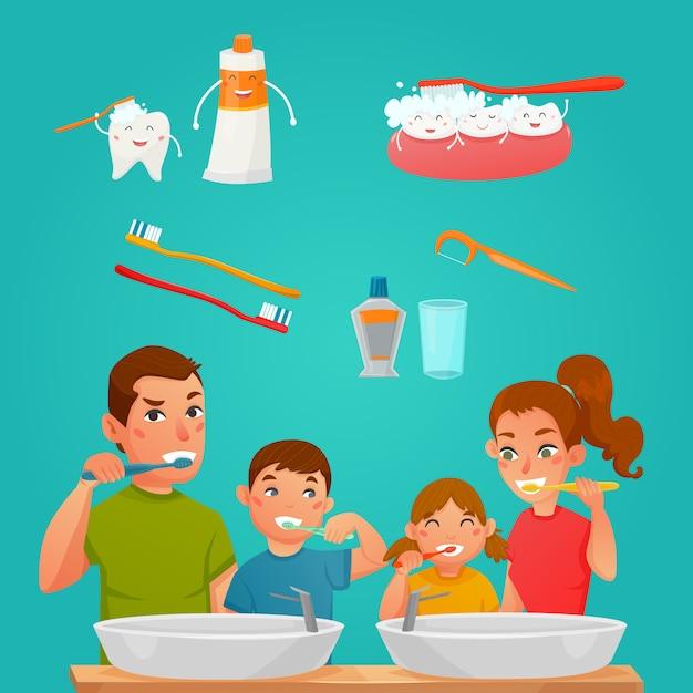 Giovane famiglia che pulisce insieme i denti Vettore gratuito