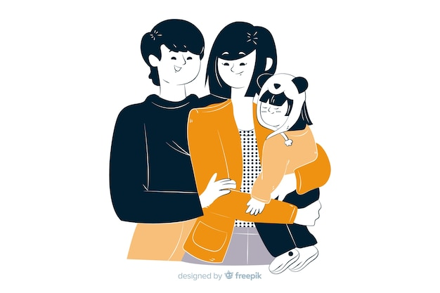 Young family in korean drawing style Free Vector