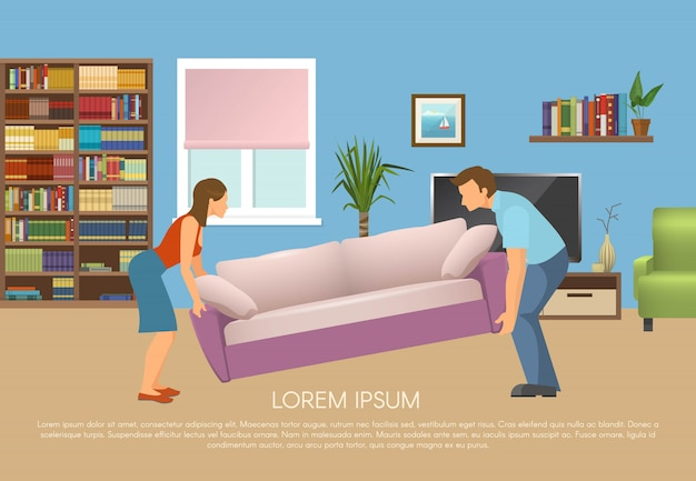 Young family at living room design with man and woman moving sofa vector illustration Free Vector