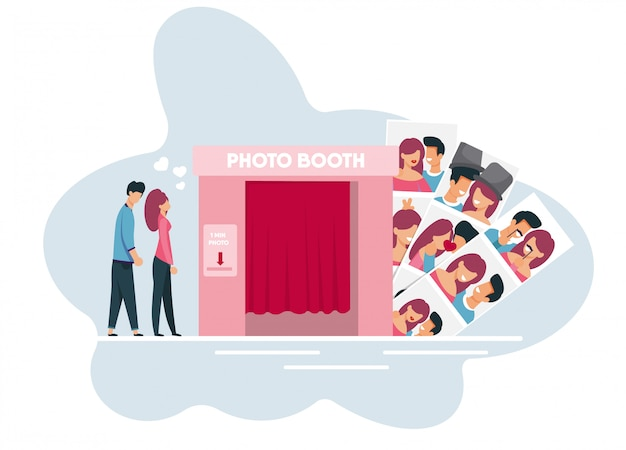 Young family members waiting turn to photo booth Premium Vector