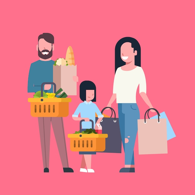 Young family shopping holding paper bag and basket full of grocery products Premium Vector